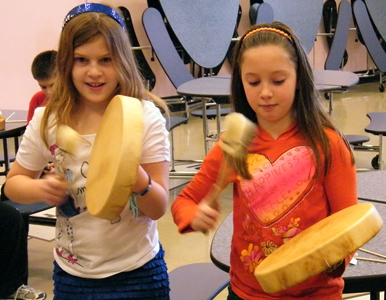4th grade girls with drums