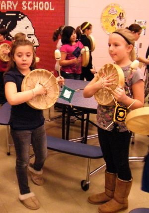 4th graders with newly awakened drums