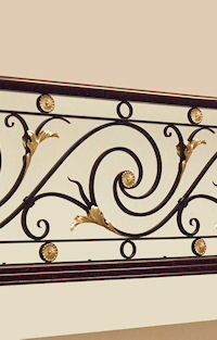 Interior Railing Detail with Brass Leaves and Rosettes