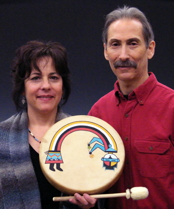 Kate and Brad Silberberg with rainbow Yei drum