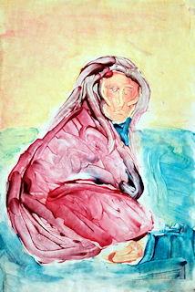 Seated Woman fingerpainting
