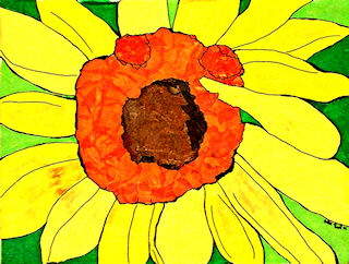 Yellow Flower tissue painting